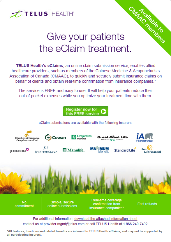 (New) Telus Health's eClaims for CMAAC members